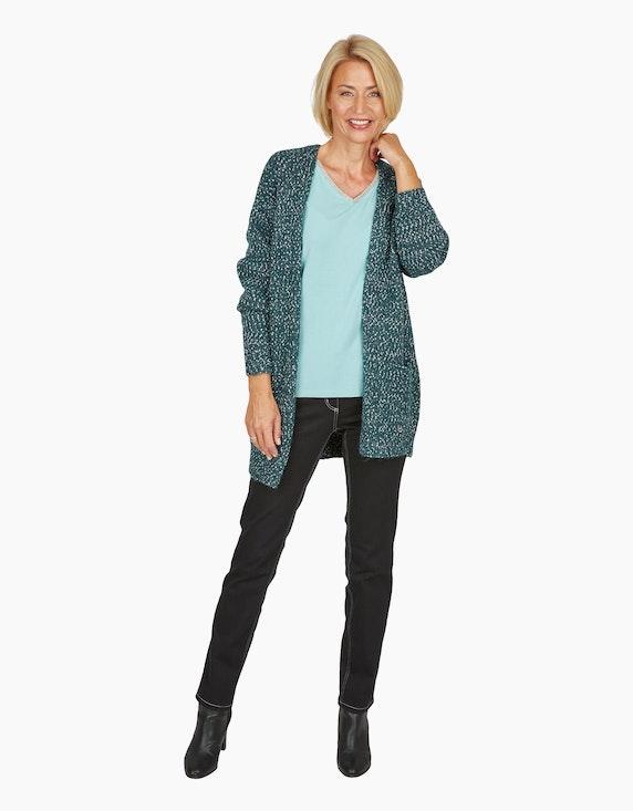 Steilmann Woman Strickjacke mit Glitzereffekt in Dunkelgrün/Silber | ADLER Mode Onlineshop