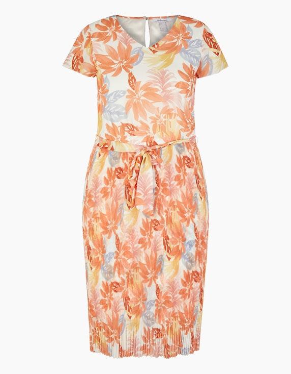 Steilmann Woman Chiffonkleid mit exotischem Druck in Orange/Apricot/Gelb/Hellblau/Ecru   ADLER Mode Onlineshop