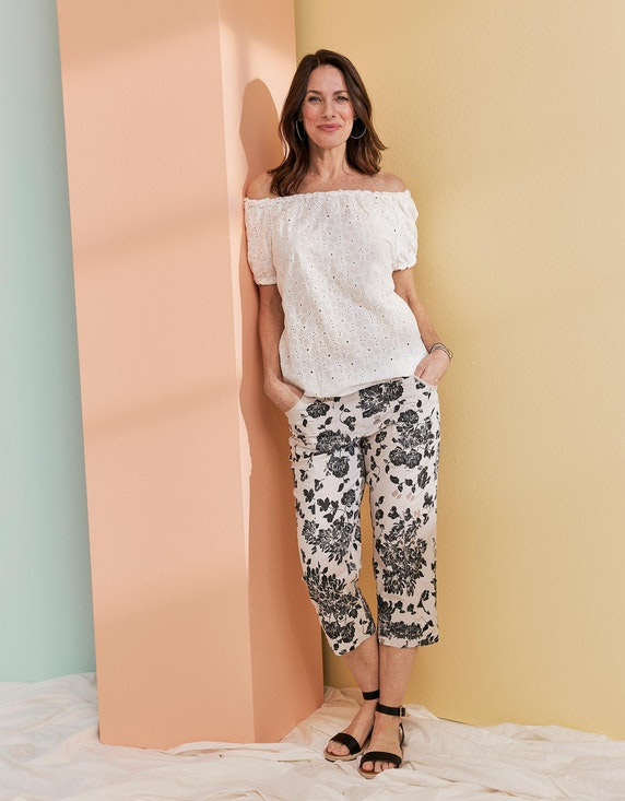 Bexleys woman Papertouch-Hose mit floralem Druck in Beige/Schwarz/Grau   ADLER Mode Onlineshop