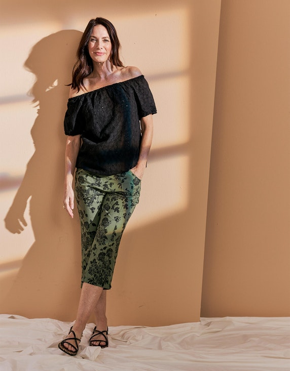 Bexleys woman Papertouch-Hose mit floralem Druck in Grün/Schwarz/Grau | ADLER Mode Onlineshop
