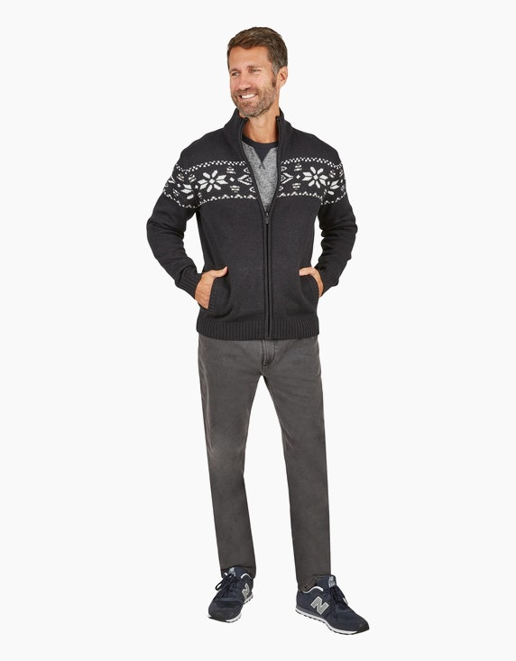 Bexleys man Strickjacke mit Jacquard-Muster in Schwarz/Weiß | ADLER Mode Onlineshop