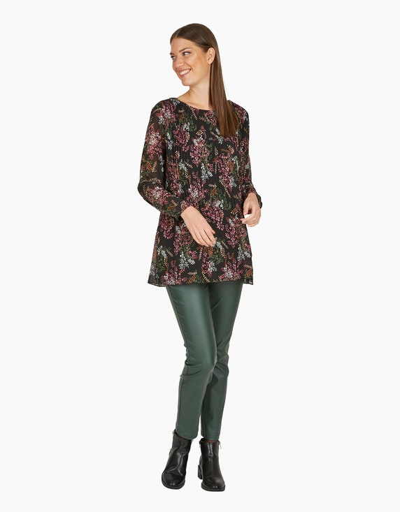 MY OWN Long-Bluse, Chiffon-Plissee mit Allover-Druck in Schwarz/Bordeaux/Oliv | ADLER Mode Onlineshop