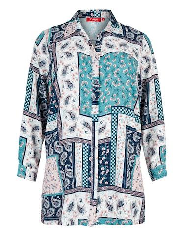 Produktbild zu lange Bluse mit Allover-Print von Thea