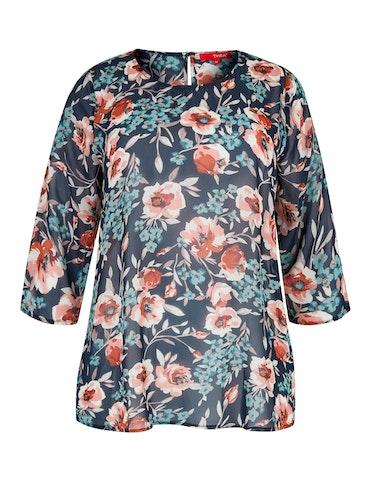 Produktbild zu Chiffon-Bluse mit floralem Print und 3/4-Ärmel von Thea