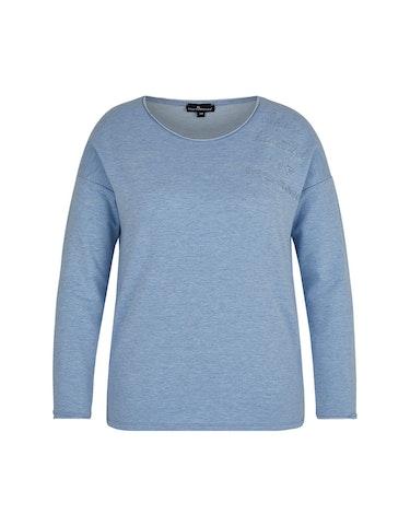 Produktbild zu Sweatshirt in Melange-Optik mit Letter-Stickerei von Via Cortesa