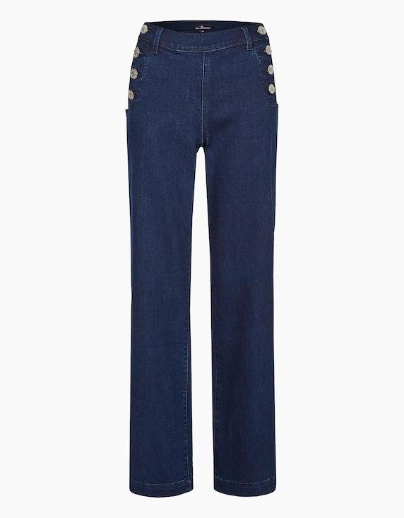 Via Cortesa Jeans mit zwei Knopfleisten und weitem Bein in Dark Blue Denim | ADLER Mode Onlineshop