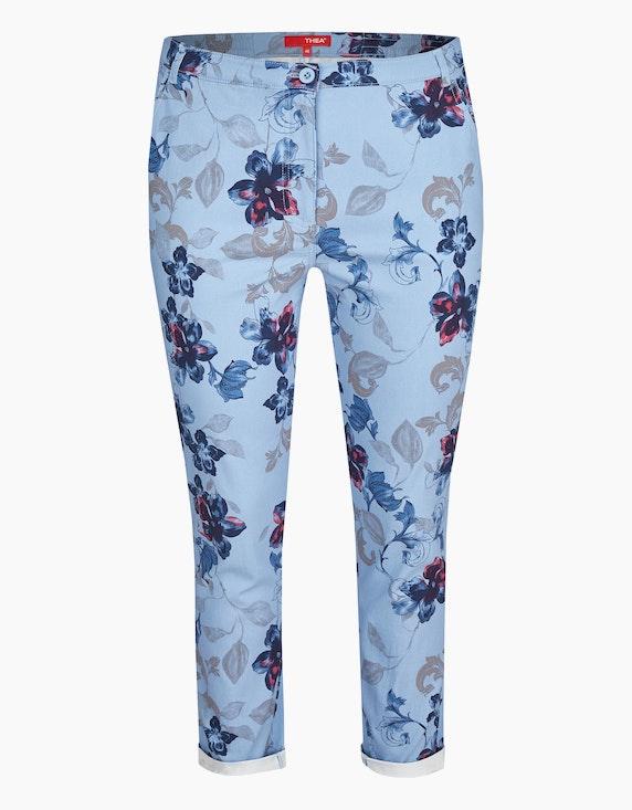 Thea Bengalin-Hose mit floralem Print in Hellblau | ADLER Mode Onlineshop