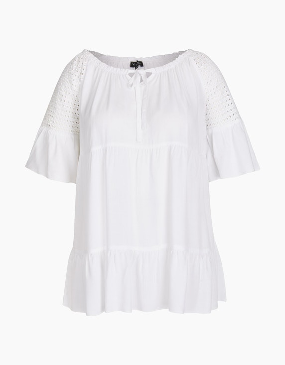 Viventy Carmen-Bluse mit Lochstickerei in Weiß   ADLER Mode Onlineshop