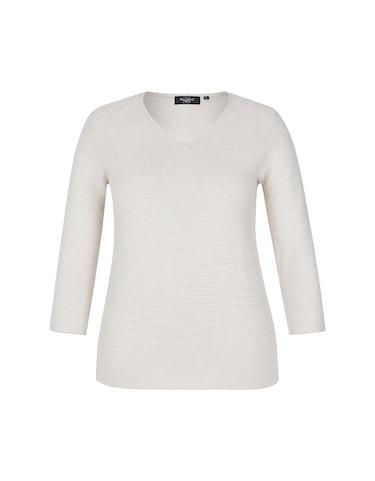 Produktbild zu Baumwoll-Pullover mit Streifen und V-Ausschnitt von Bexleys woman
