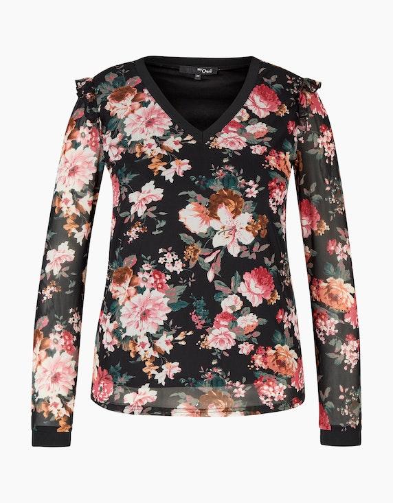 MY OWN Mesh-Shirt mit floralem Druck und Rüschendetail in Schwarz/Beere/Offwhite/Oliv | ADLER Mode Onlineshop