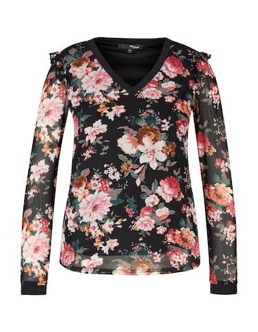 Produktbild zu Mesh-Shirt mit floralem Druck und Rüschendetail von MY OWN