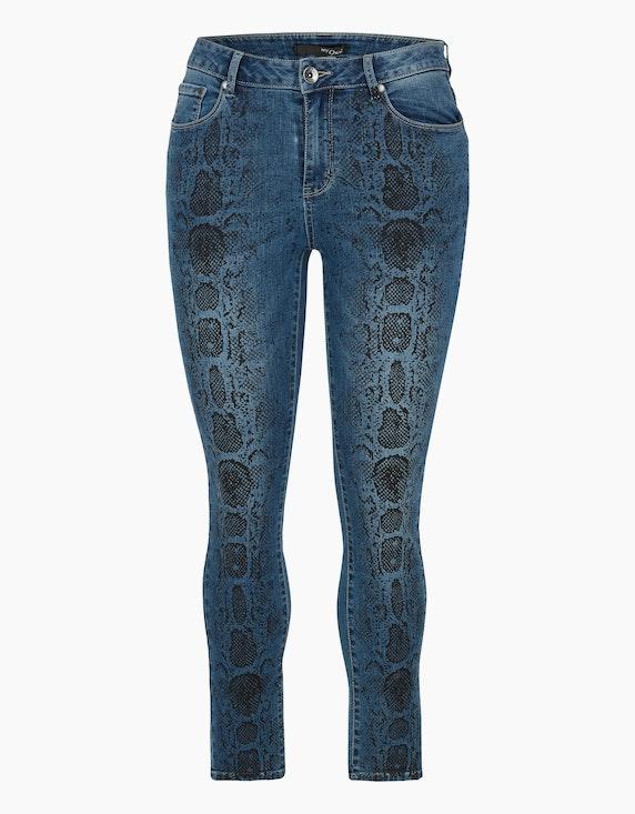 MY OWN Denim-Jeans-Hose mit Schlangen-Print in Denim Blue/Schwarz | ADLER Mode Onlineshop