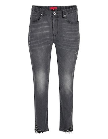 Produktbild zu <strong>Jeans-Hose mit destroyed-effect</strong>Dekoperlen und Spitze von Thea