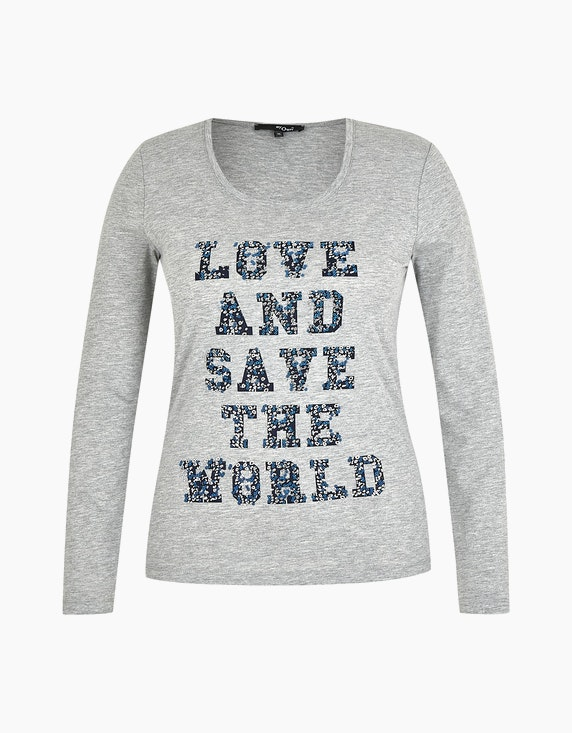MY OWN Shirt mit Letterprint und Effekten in Grau Melange | ADLER Mode Onlineshop