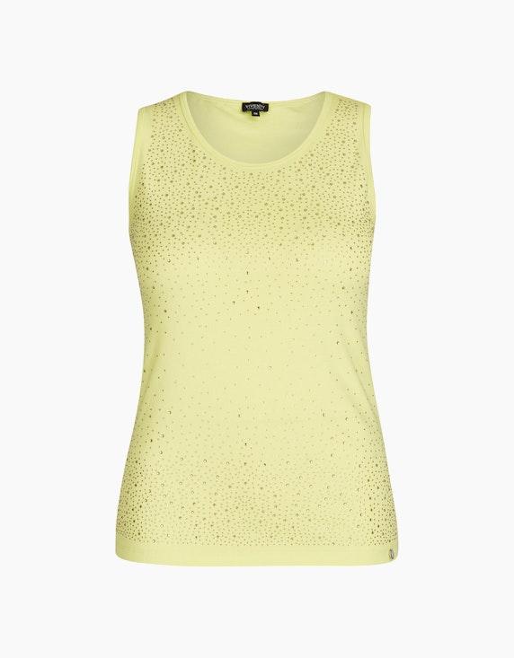 Viventy Top mit Ziersteinen im Basic-Style in Grün   ADLER Mode Onlineshop