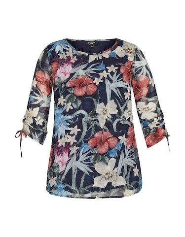 Produktbild zu Chiffonbluse mit Blumen und Karo von Bexleys woman
