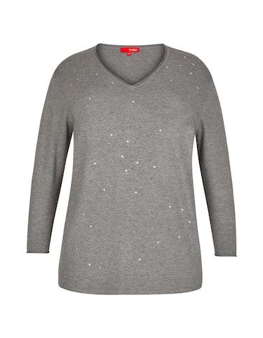 Produktbild zu Feinstrick-Pullover mit Ziersteinen von Thea
