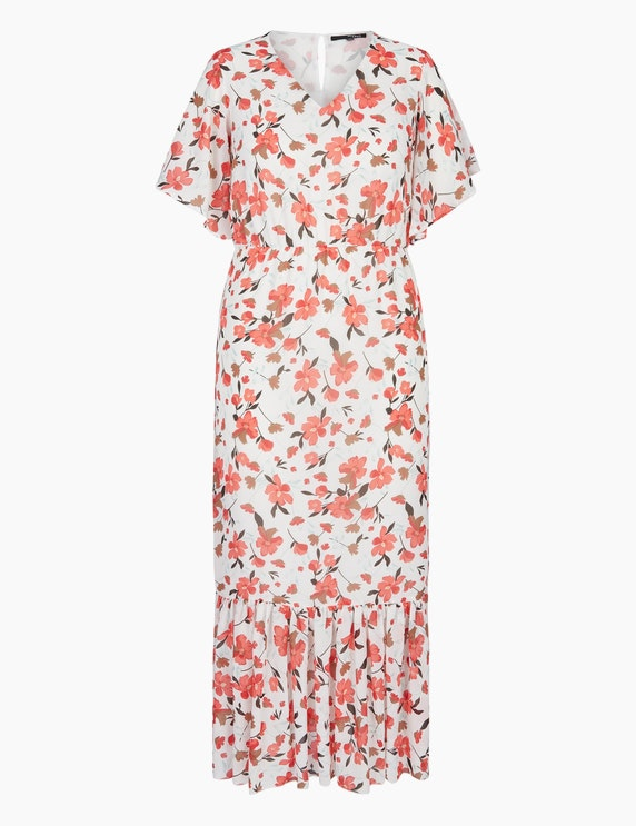 MY OWN Maxikleid mit Blumen-Muster in Rot/Rosa/Grün/Weiß | ADLER Mode Onlineshop