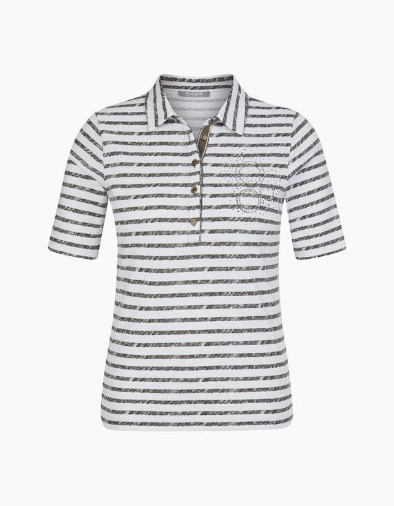 Rabe Poloshirt mit Streifen und Strass-Besatz   ADLER Mode Onlineshop