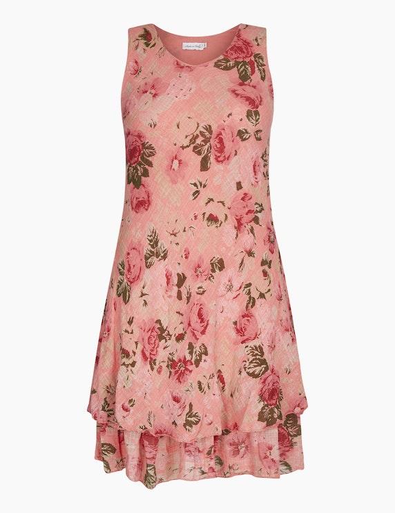 Made in Italy Sommerkleid mit floralem Druck in Koralle/Rot/Grün | ADLER Mode Onlineshop