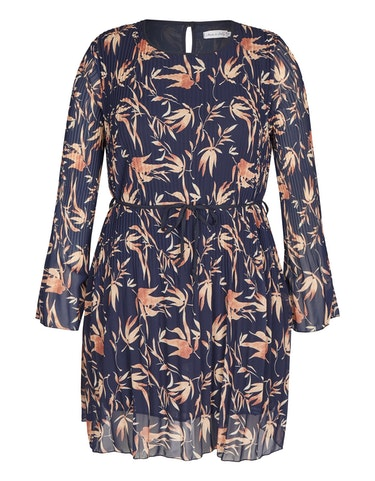 Produktbild zu Plissee-Kleid mit Blätter-Druck von Made in Italy