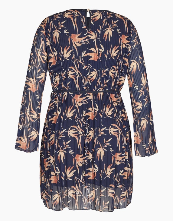 Made in Italy Plissee-Kleid mit Blätter-Druck | ADLER Mode Onlineshop