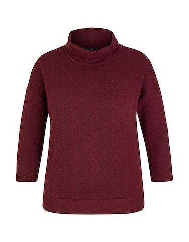 Produktbild zu Sweatshirt mit gestepptem Zopfmuster von Via Cortesa