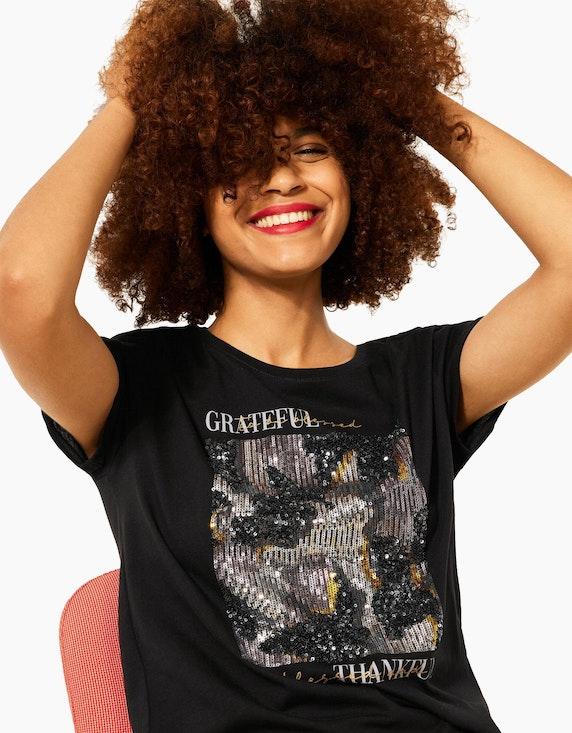 Street One Shirt, Partprint mit Wording und Pailletten | ADLER Mode Onlineshop