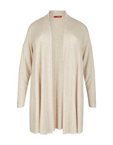 Produktbild zu <strong>Feinstrick-Jacke in Melange-Optik</strong>Woll-Viskose-Qualität von Thea