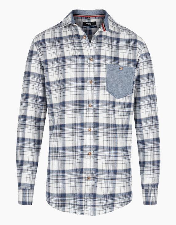 Bexleys man Kariertes Flanellhemd mit farbiger Brusttasche in Weiß/Blau | ADLER Mode Onlineshop