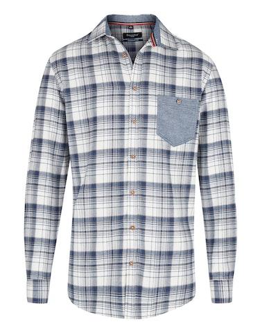 Produktbild zu Kariertes Flanellhemd mit farbiger Brusttasche von Bexleys man