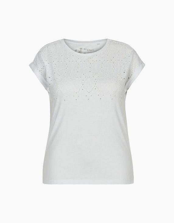 MY OWN Shirt mit Lochstickerei aus reiner Baumwolle in Weiß | ADLER Mode Onlineshop
