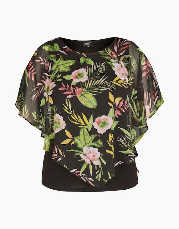 Viventy Cape-Bluse aus Chiffon in Schwarz/Rosa/Grün/Gelb | ADLER Mode Onlineshop