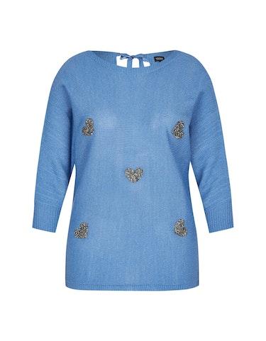 Produktbild zu Strick-Pullover mit Herzen und Rückenausschnitt von Viventy