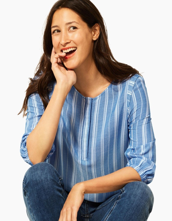 Street One Streifen-Bluse aus reiner Viskose | ADLER Mode Onlineshop
