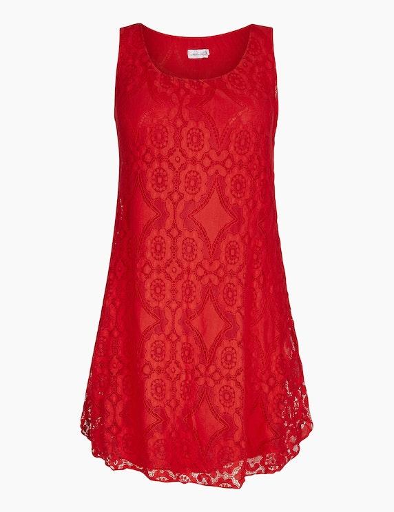 Made in Italy Kleid mit Häkelspitzendetails in Rot | ADLER Mode Onlineshop