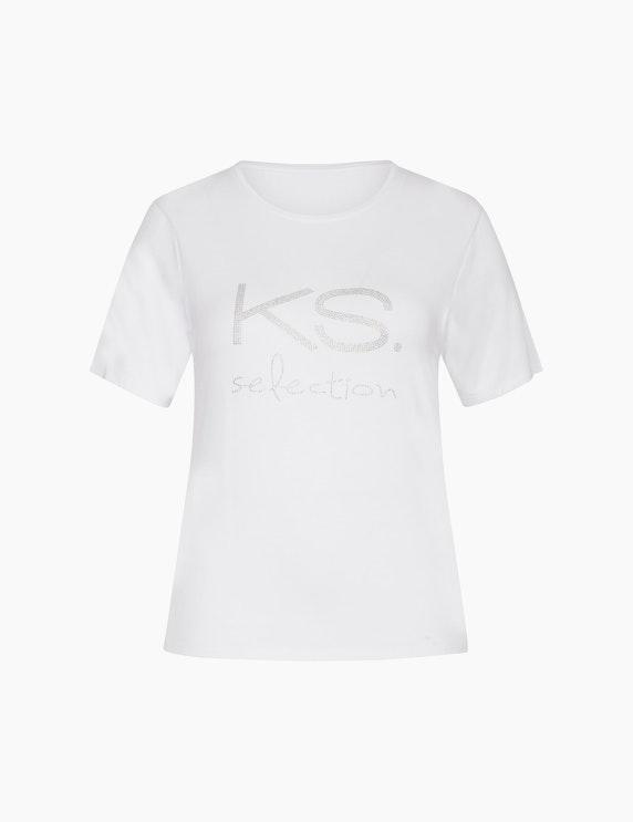 KS. selection Shirt mit Strass-Label in Weiß | ADLER Mode Onlineshop