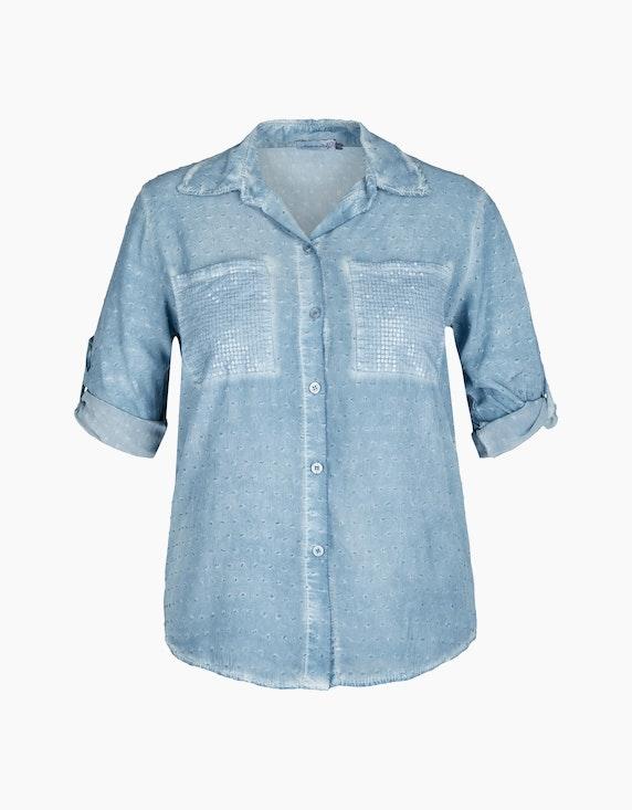 Made in Italy Bluse mit Dobby-Struktur in Blau   ADLER Mode Onlineshop