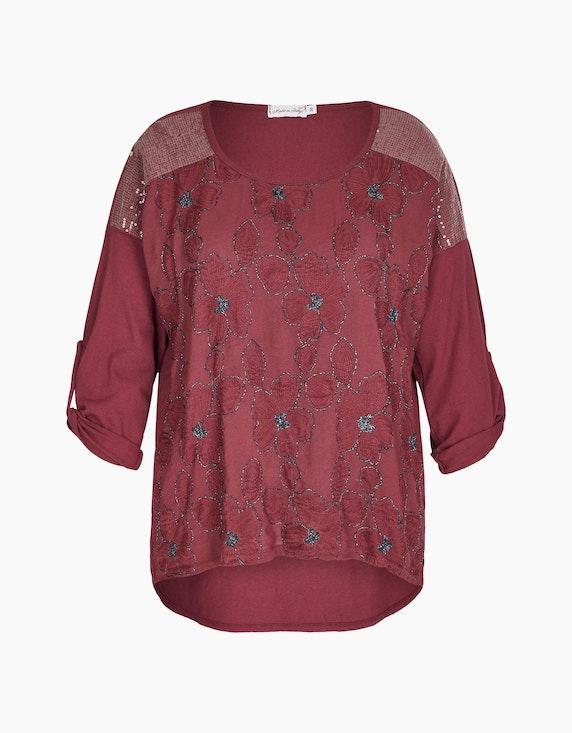 Made in Italy Bluse mit Floraler-Stickerei in Beere | ADLER Mode Onlineshop
