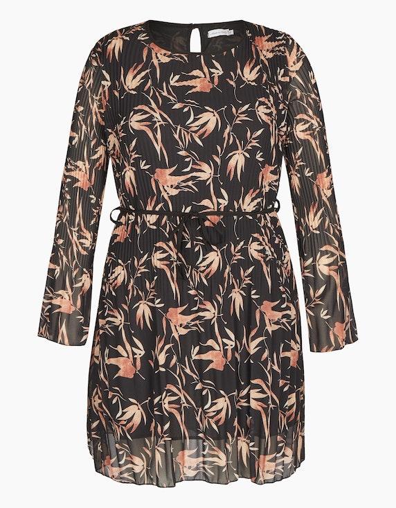 Made in Italy Plissee-Kleid mit Blätter-Druck in Schwarz/Camel/Beige | ADLER Mode Onlineshop