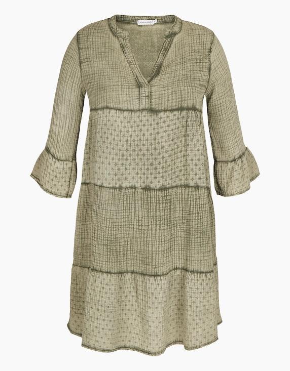 Made in Italy Musselin-Kleid aus Baumwolle in Khaki | ADLER Mode Onlineshop