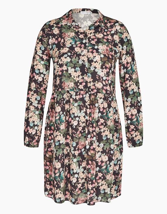 Made in Italy Viskose-Kleid mit Kragen und halblanger Knopfleiste in Altrosa/Hellblau/Grün/Schwarz | ADLER Mode Onlineshop
