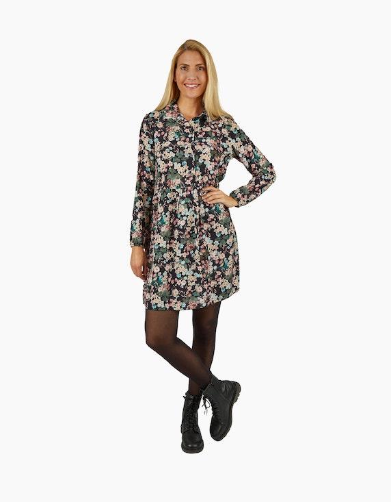 Made in Italy Viskose-Kleid mit Kragen und halblanger Knopfleiste | ADLER Mode Onlineshop