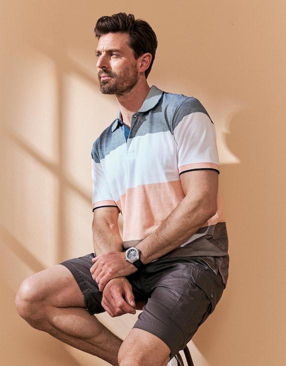 Bexleys man Gestreiftes Poloshirt in PIMA Cotton in Grau/Apricot/Hellbraun   ADLER Mode Onlineshop