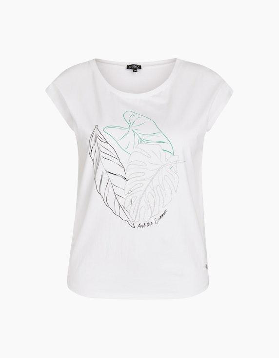 Viventy Shirt mit platziertem Blätter-Print in Weiß   ADLER Mode Onlineshop