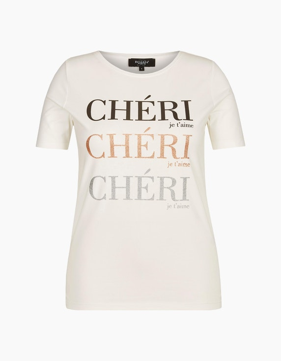 Bexleys woman T-Shirt mit Glitzer Statement-Print in Ecru   ADLER Mode Onlineshop