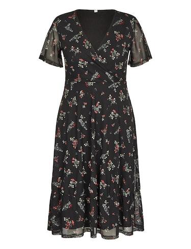 Produktbild zu Mesh-Kleid mit Blumenmuster in Wickeloptik von MY OWN