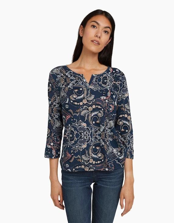 Tom Tailor Henley-Shirt mit Allover-Muster aus Bio-Baumwolle | ADLER Mode Onlineshop