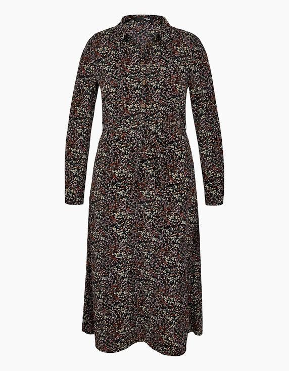MY OWN Hemdblusen-Kleid aus Polyester-Crepe mit Allover-Print in Schwarz/Braun/Beige/Pflaume | ADLER Mode Onlineshop