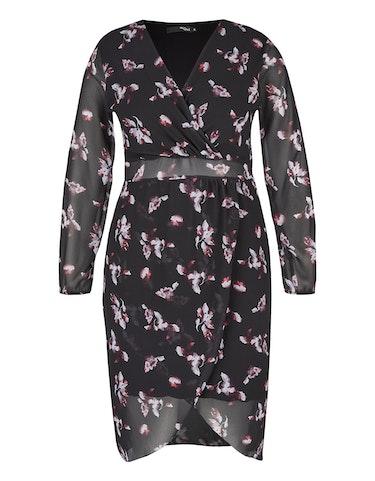 Produktbild zu Gemustertes Chiffon-Kleid mit Wickeloptik von MY OWN
